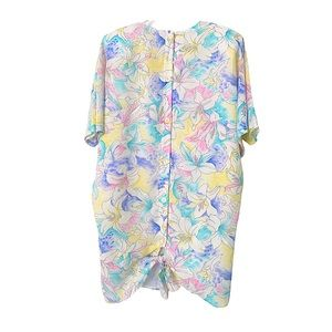 Vntg 80s Tie & Button Back Floral Dress Pastels L